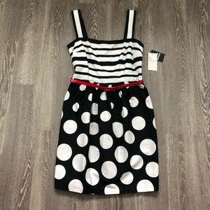 Sandra Darren Striped Polka Dot Fit Flare Dress